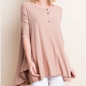 Tops - Latte Ribbed 3/4 Henley Tunic
